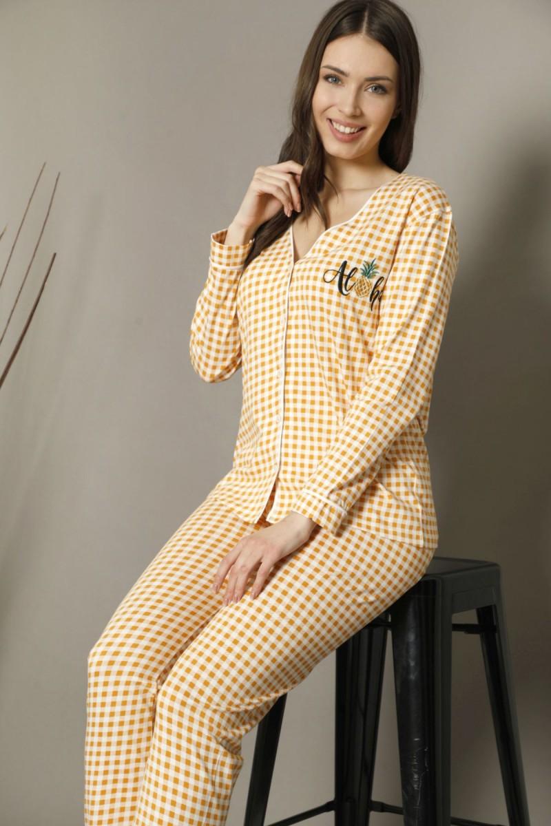 SİYAH İNCİ - Pamuklu Likralı Düğmeli Biyeli Pijama Takım 21274010