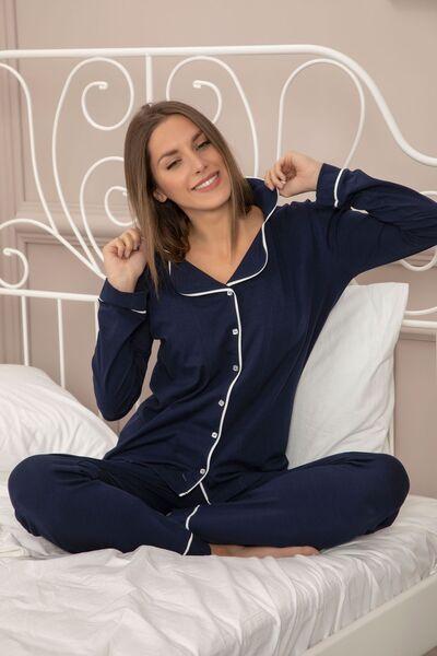 SIYAH INCI - Pamuklu Likralı Düğmeli Biyeli Pijama Takım