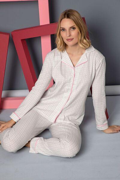 SİYAH İNCİ - Pamuklu Likralı Düğmeli Biyeli Pijama Takım