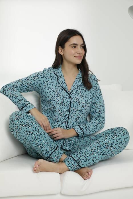 Pamuklu Likralı Düğmeli Biyeli Pijama Takım 7468