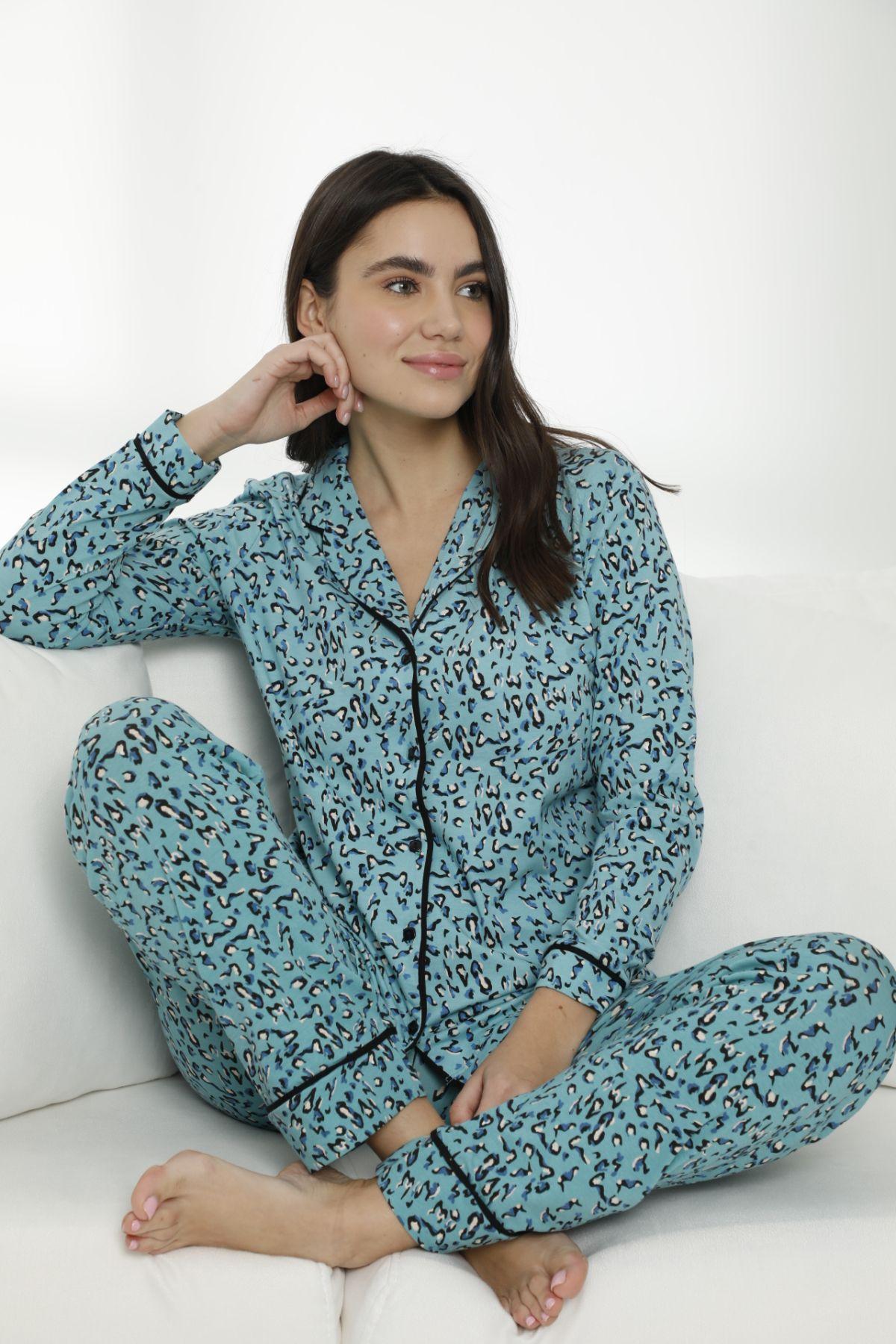 Pamuklu Likralı Düğmeli Biyeli Pijama Takım 7468 - Thumbnail