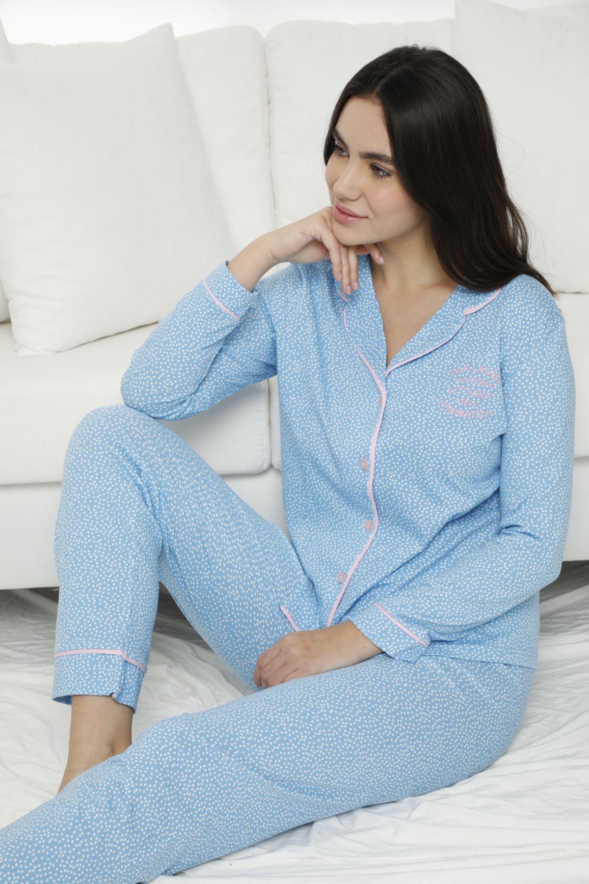 - Pamuklu Likralı Düğmeli Biyeli Pijama Takım 7469