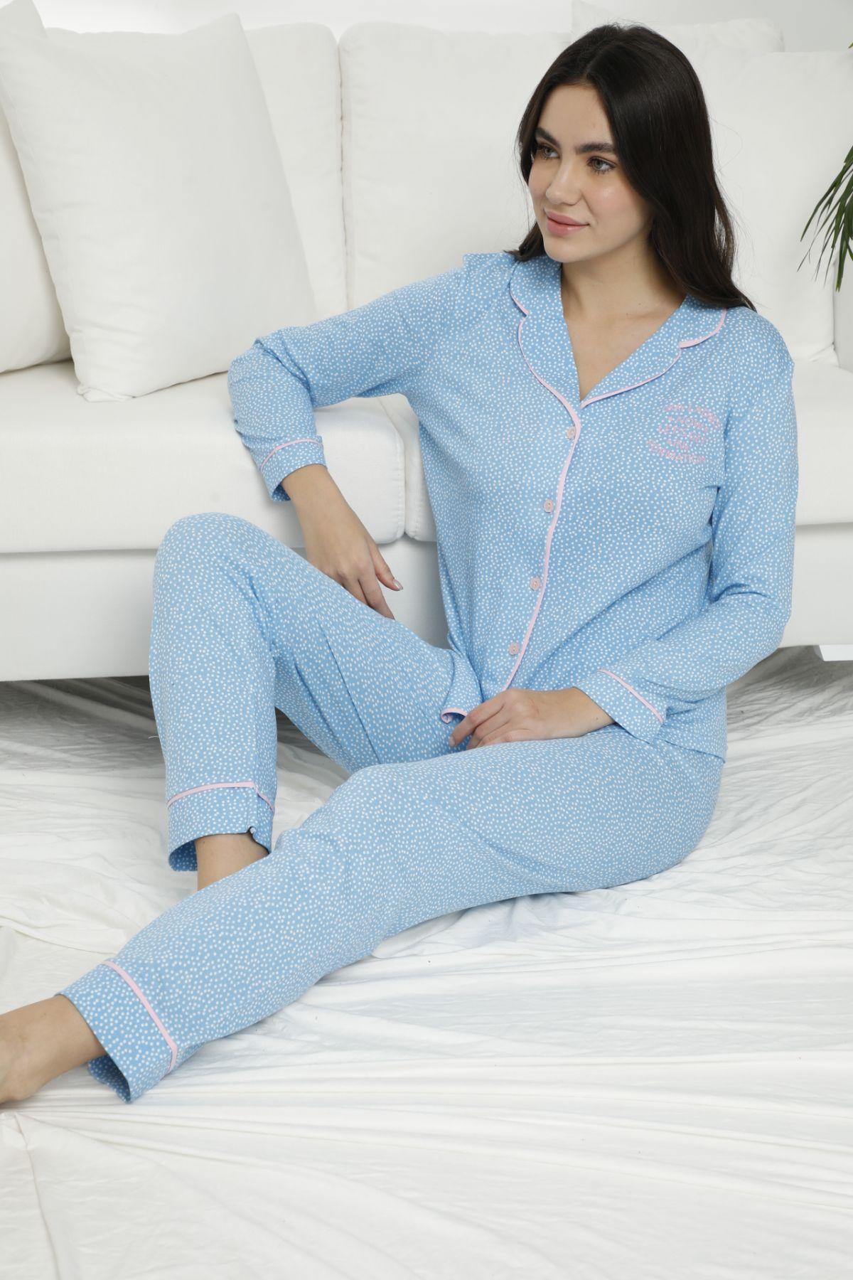 Pamuklu Likralı Düğmeli Biyeli Pijama Takım 7469 - Thumbnail