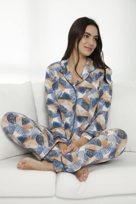 Pamuklu Likralı Düğmeli Biyeli Pijama Takım 7470