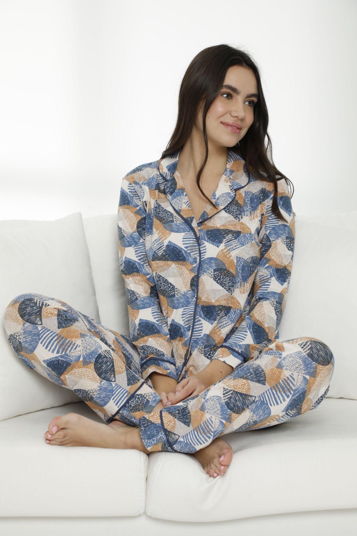 - Pamuklu Likralı Düğmeli Biyeli Pijama Takım 7470