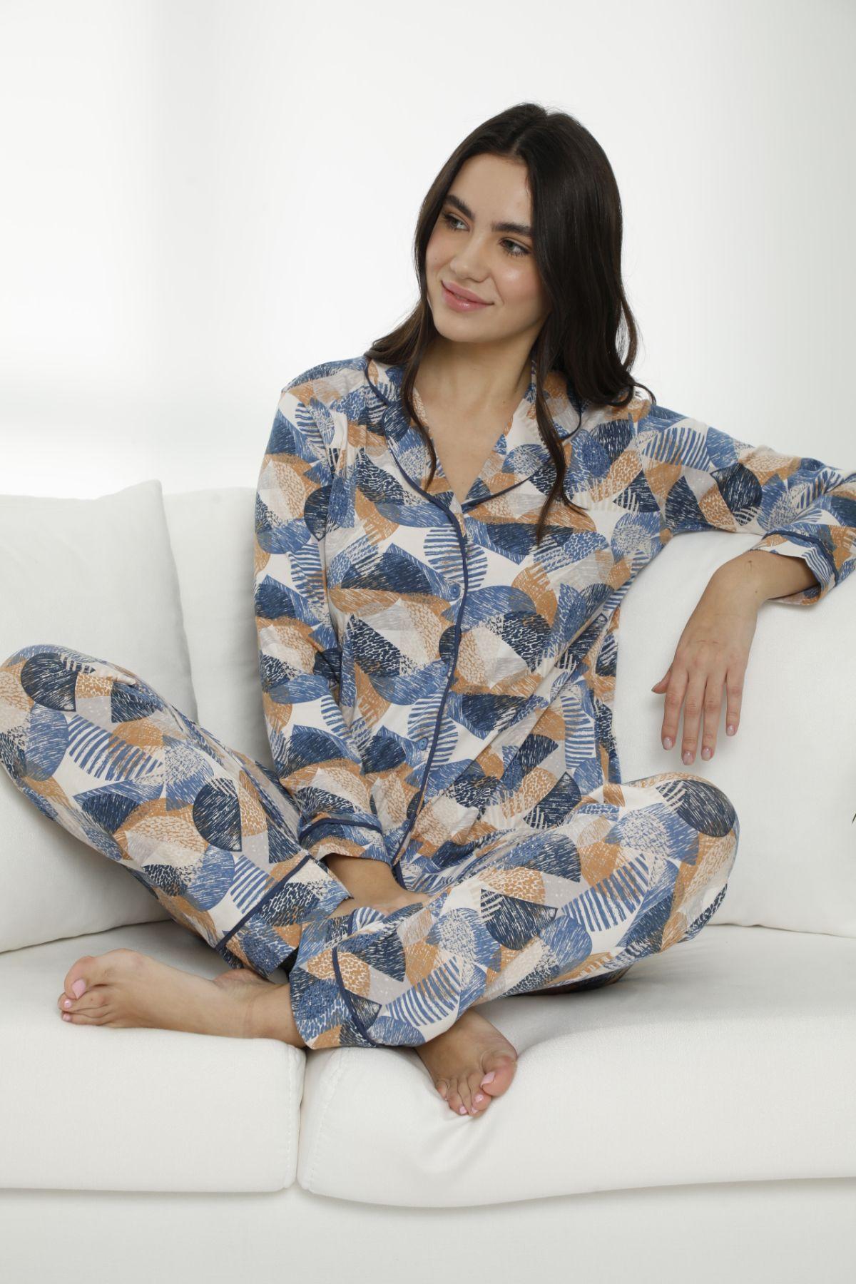 Pamuklu Likralı Düğmeli Biyeli Pijama Takım 7470 - Thumbnail
