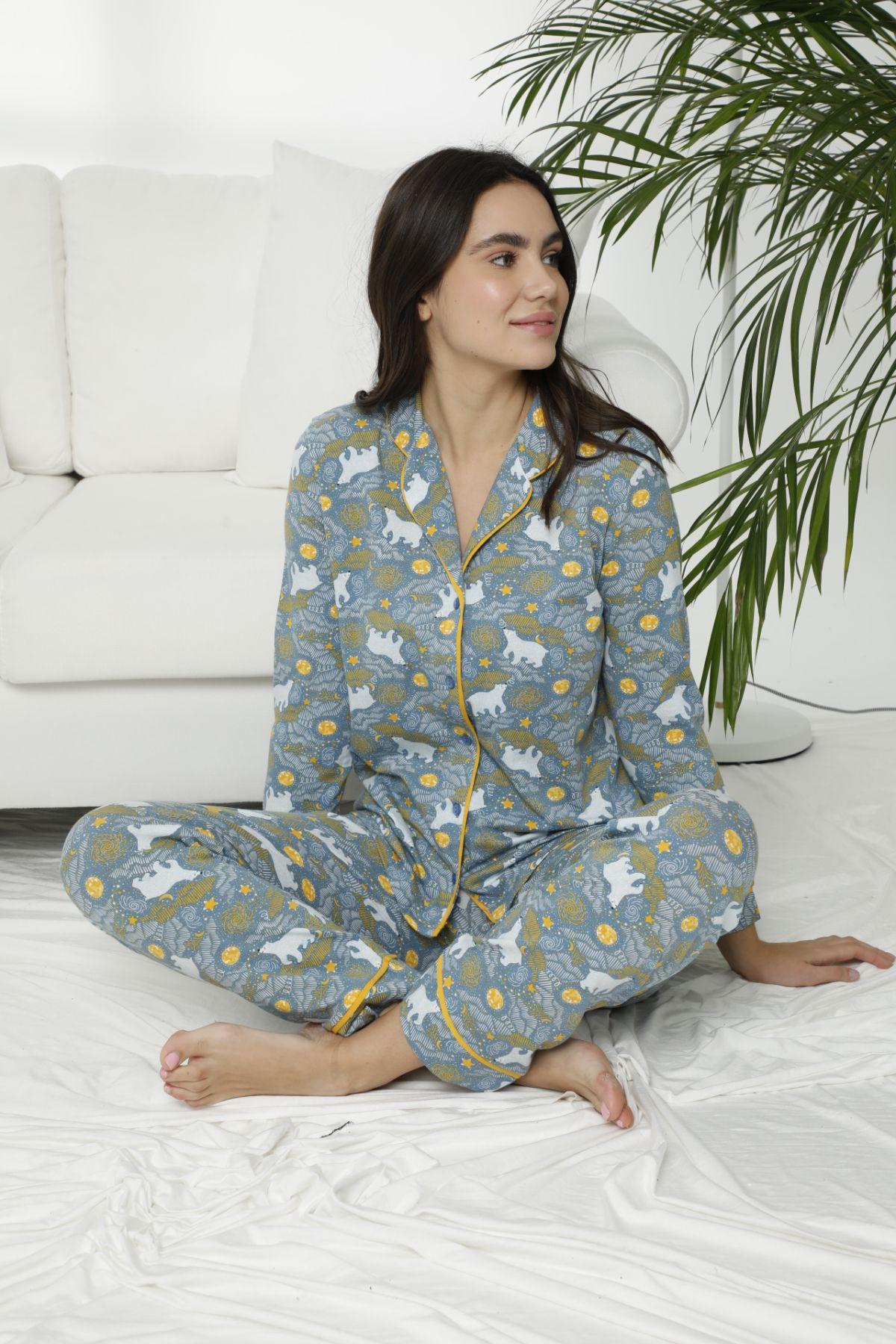 Pamuklu Likralı Düğmeli Biyeli Pijama Takım 7471 - Thumbnail