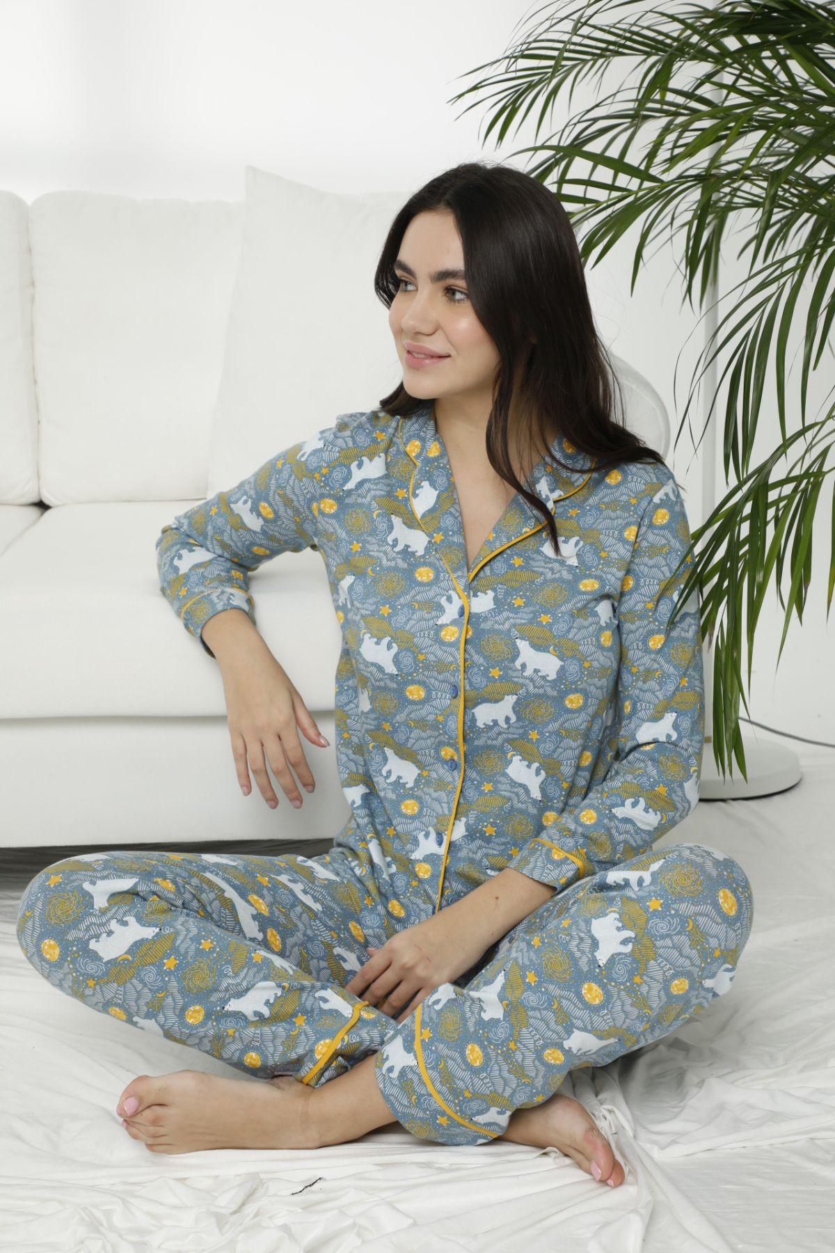 SIYAH INCI - Pamuklu Likralı Düğmeli Biyeli Pijama Takım 7471