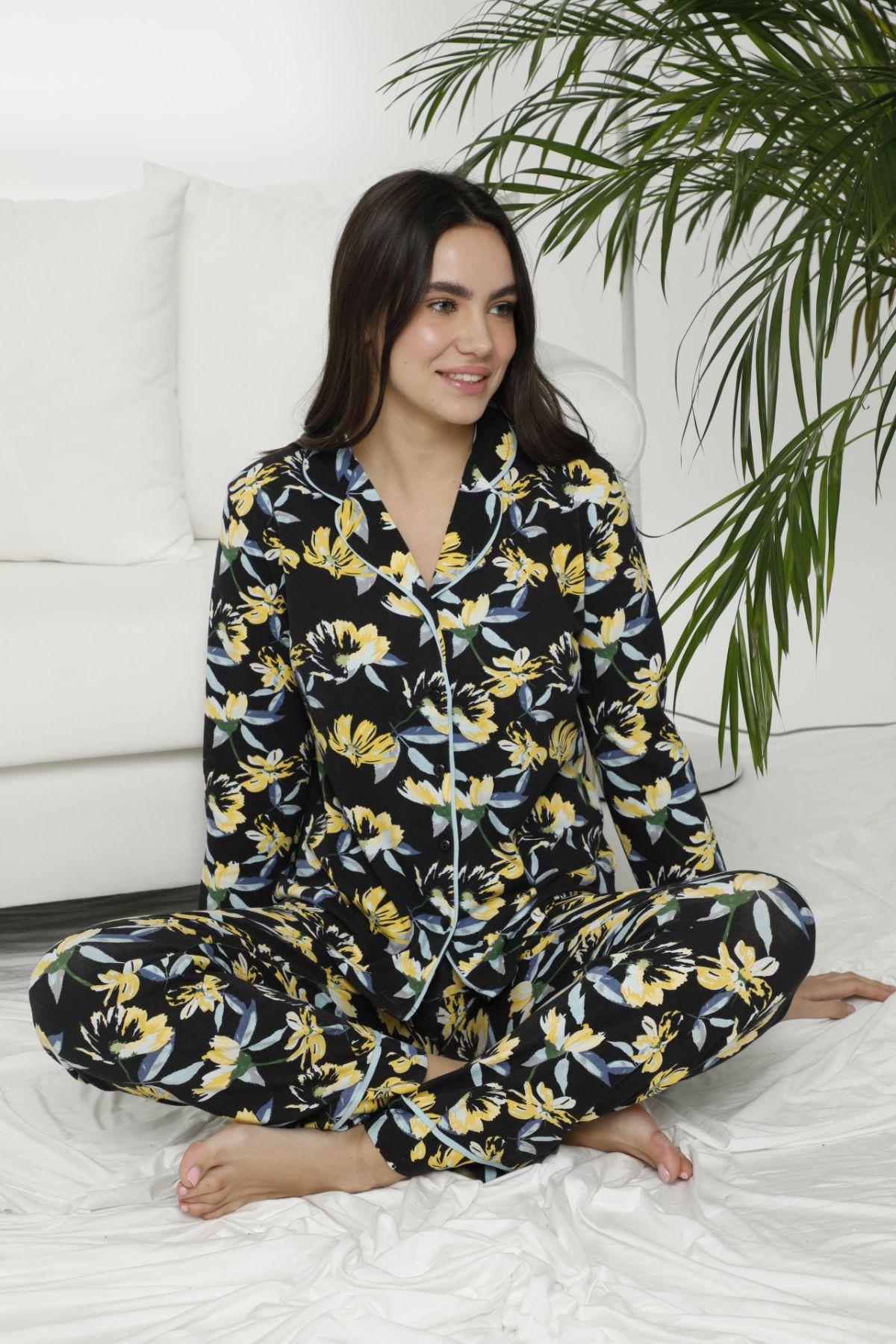 SIYAH INCI - Pamuklu Likralı Düğmeli Biyeli Pijama Takım 7472