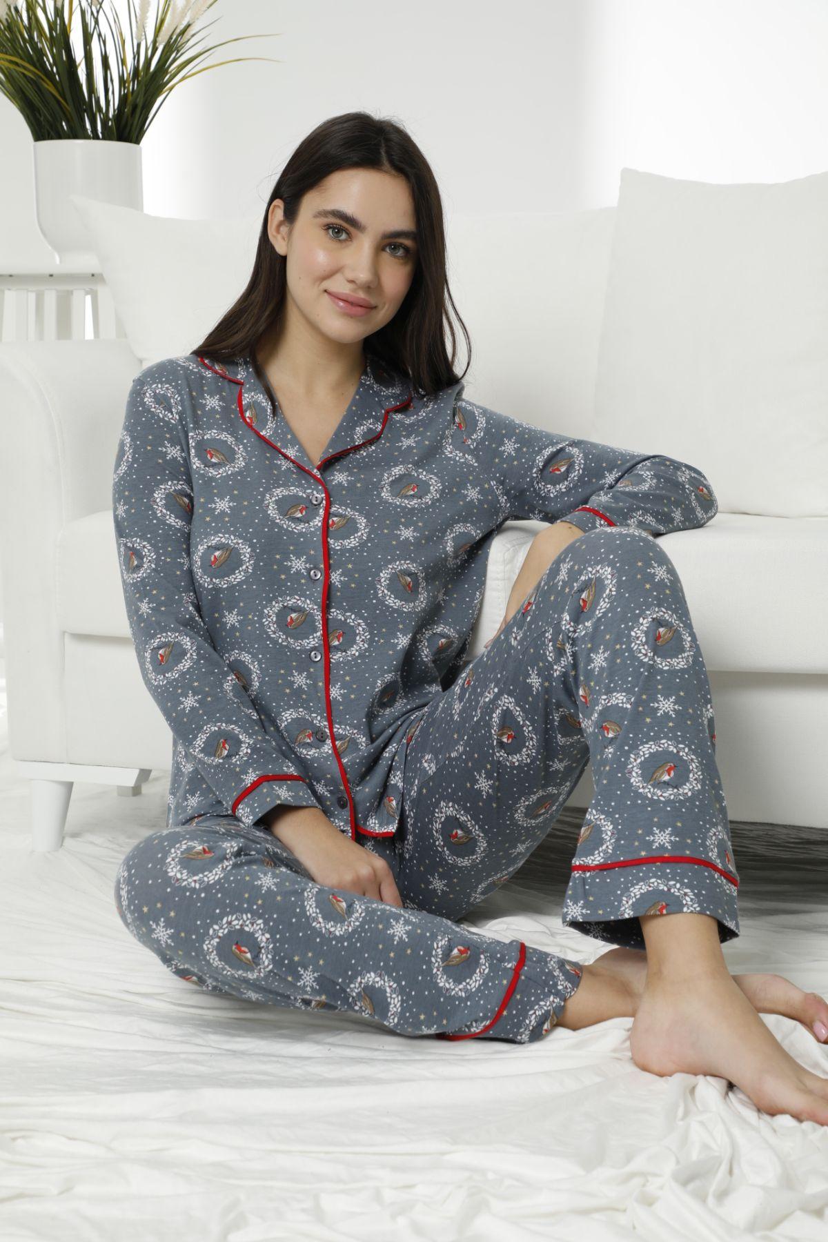 SIYAH INCI - Pamuklu Likralı Düğmeli Biyeli Pijama Takım 7473