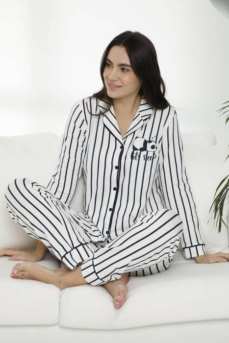 Pamuklu Likralı Düğmeli Biyeli Pijama Takım 7476