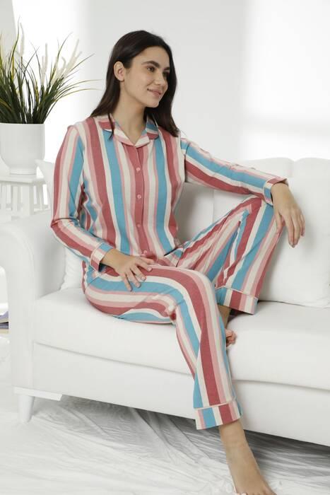 Pamuklu Likralı Düğmeli Biyeli Pijama Takım 7478