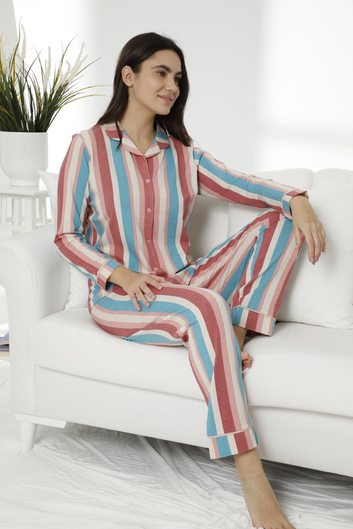 Pamuklu Likralı Düğmeli Biyeli Pijama Takım 7478 - Thumbnail