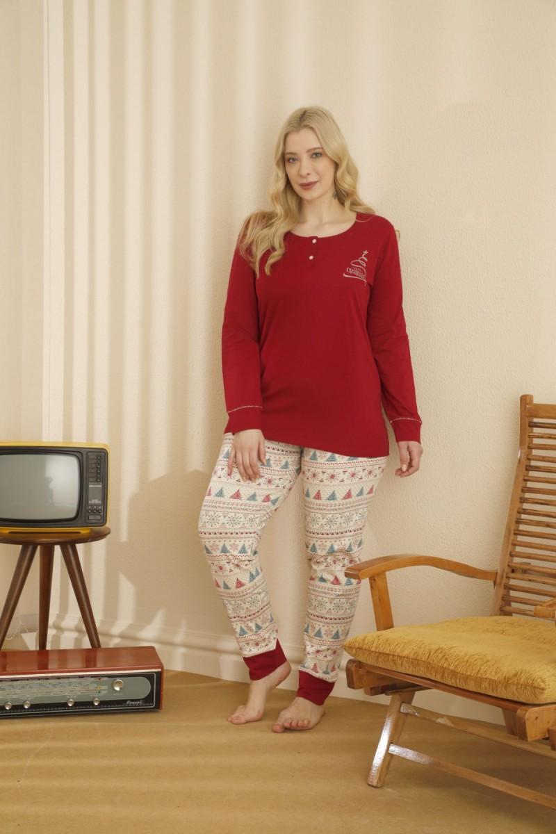 SİYAH İNCİ - Pamuklu Likralı Düğmeli Büyük Beden Battal Pijama Takım 21265658