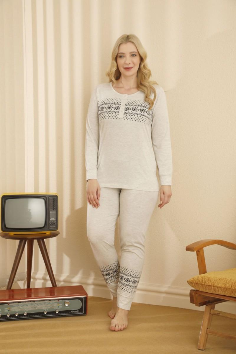 SİYAH İNCİ - Pamuklu Likralı Düğmeli Büyük Beden Battal Pijama Takım 21265712