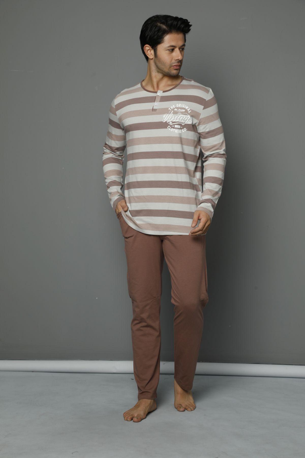Pamuklu Likrali Düğmeli Pijama Takım