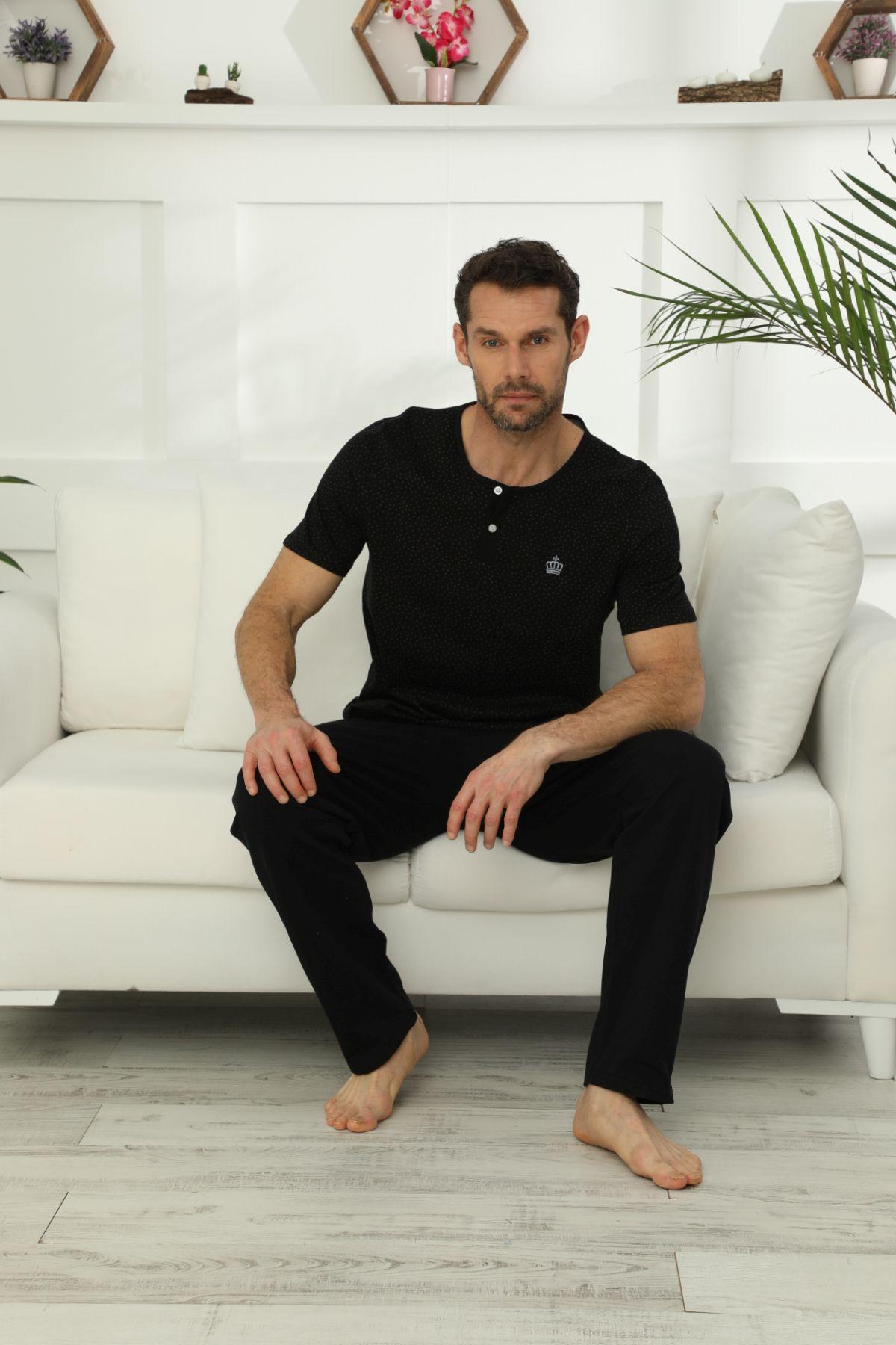 Pamuklu Likralı Düğmeli Pijama Takım 21149572