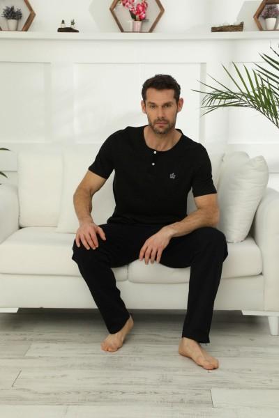 SİYAH İNCİ - Pamuklu Likralı Düğmeli Pijama Takım 21149572