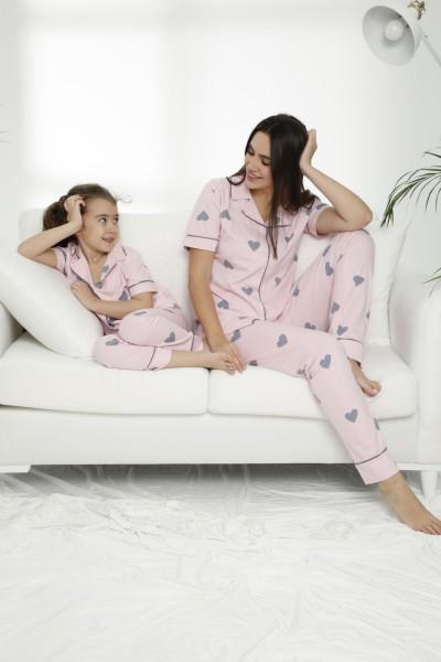Pamuklu Likralı Düğmeli Pijama Takım 21155612 - Thumbnail