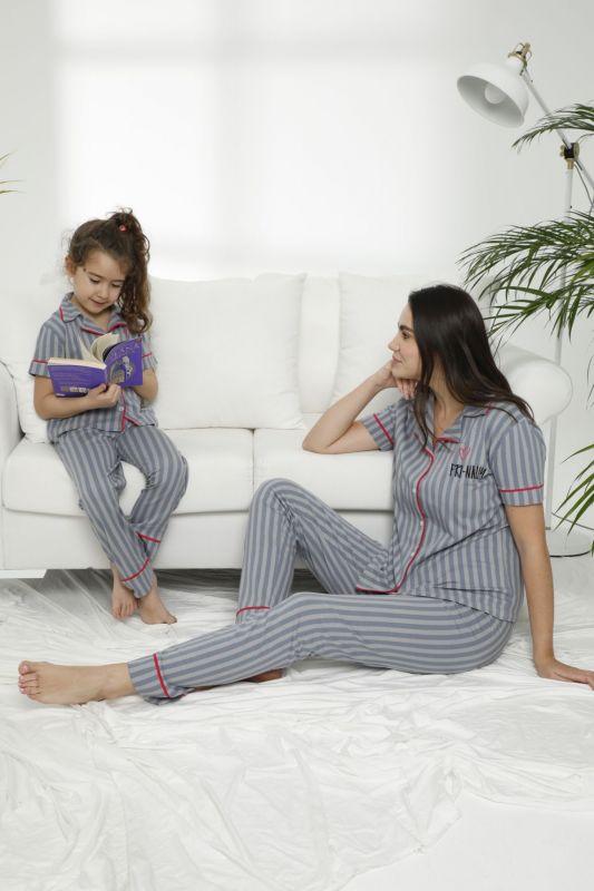 SIYAH INCI - Pamuklu Likralı Düğmeli Pijama Takım 21155621