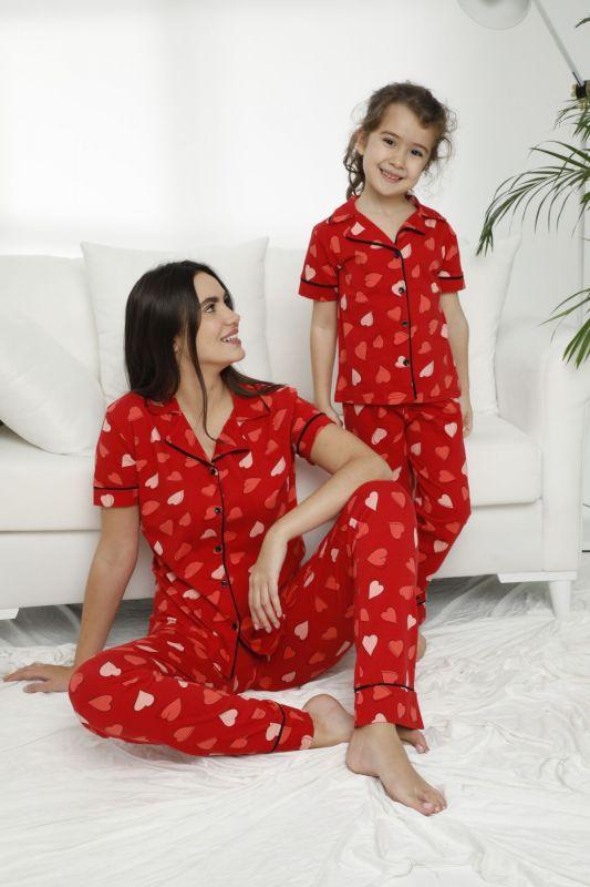 SIYAH INCI - Pamuklu Likralı Düğmeli Pijama Takım 21155634