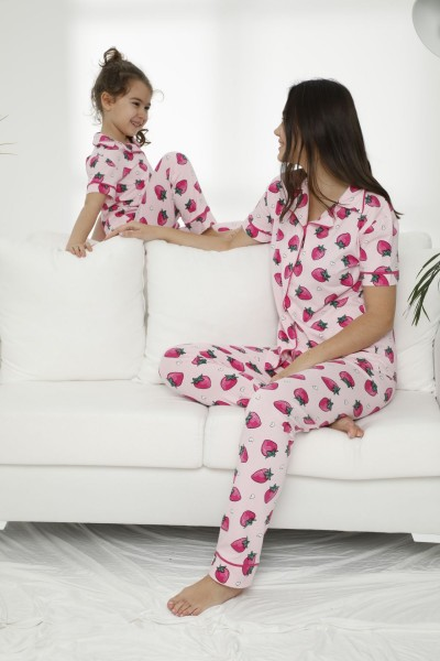 SIYAH INCI - Pamuklu Likralı Düğmeli Pijama Takım 21155637