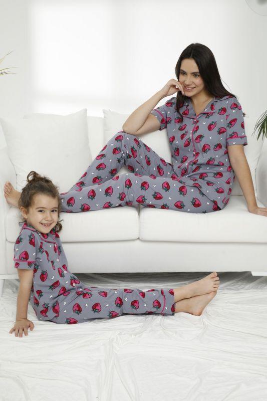 SIYAH INCI - Pamuklu Likralı Düğmeli Pijama Takım 21155638
