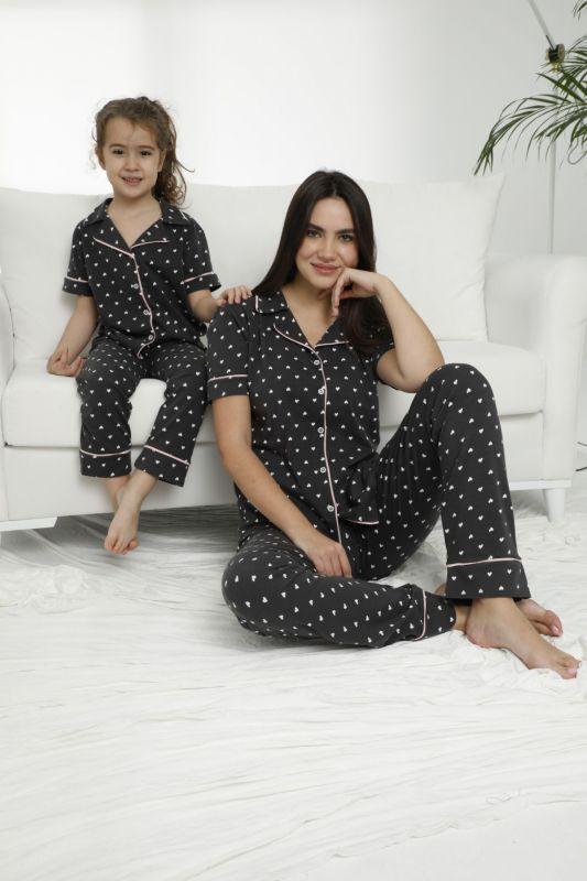 SIYAH INCI - Pamuklu Likralı Düğmeli Pijama Takım 21155679