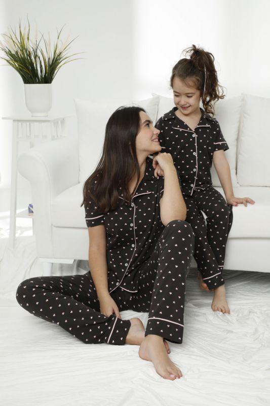 SIYAH INCI - Pamuklu Likralı Düğmeli Pijama Takım 21156008