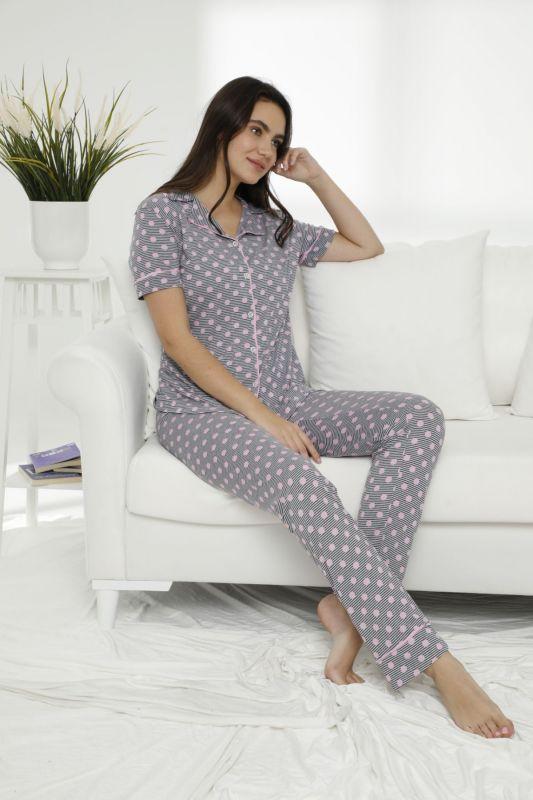 SIYAH INCI - Pamuklu Likralı Düğmeli Pijama Takım 21156522