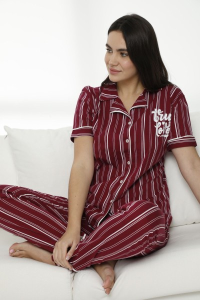 SIYAH INCI - Pamuklu Likralı Düğmeli Pijama Takım 21156531