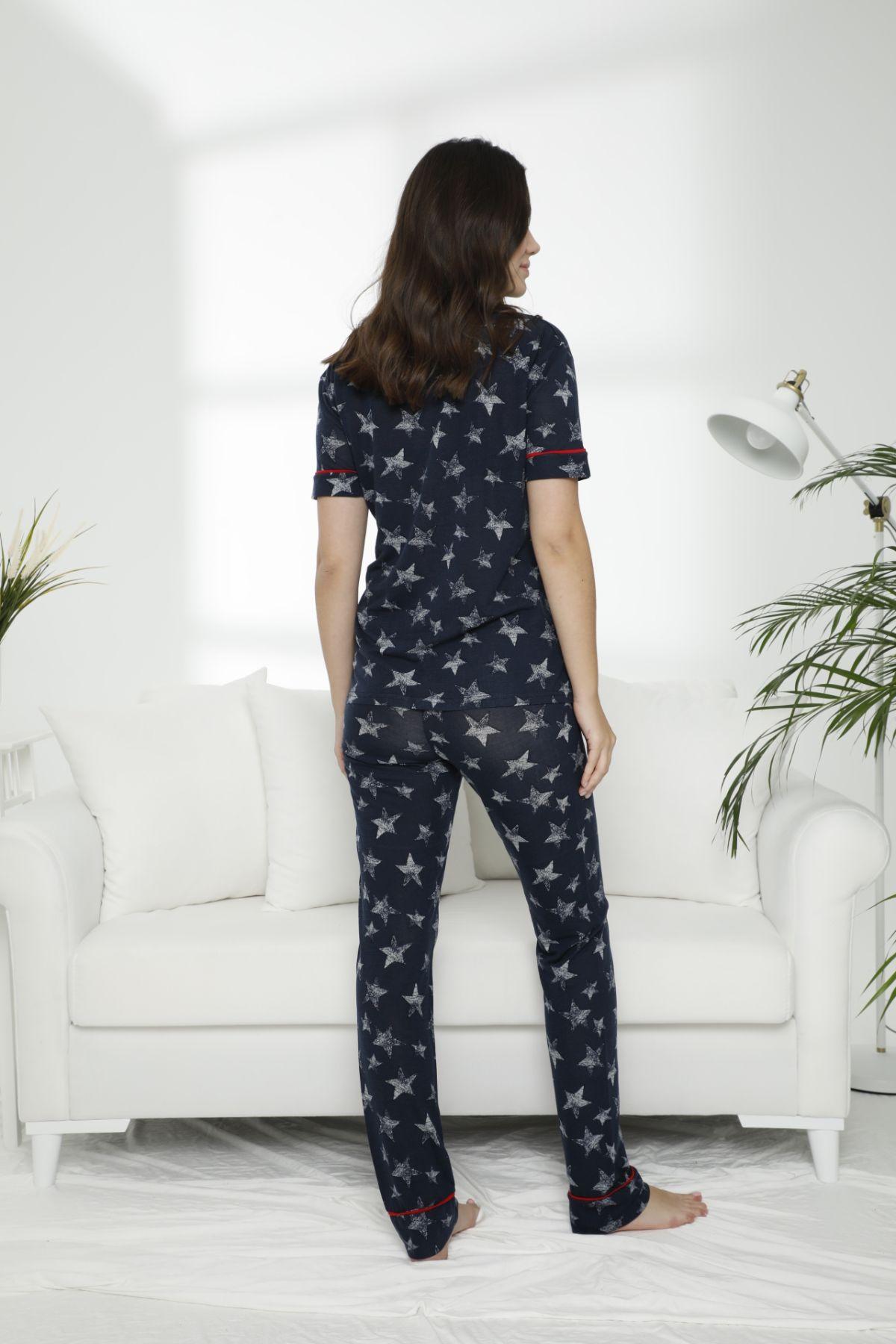 Pamuklu Likralı Düğmeli Pijama Takım 21156560