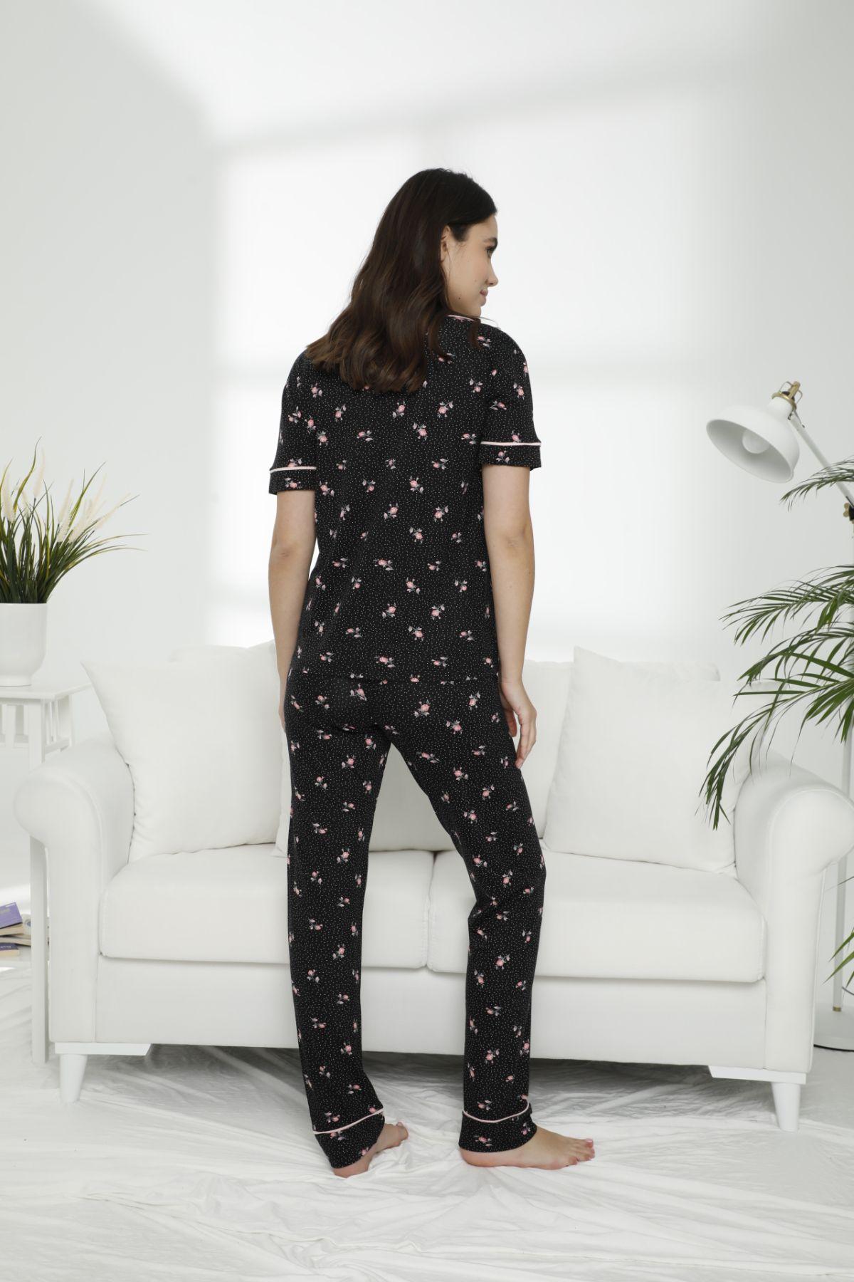 Pamuklu Likralı Düğmeli Pijama Takım 21156561