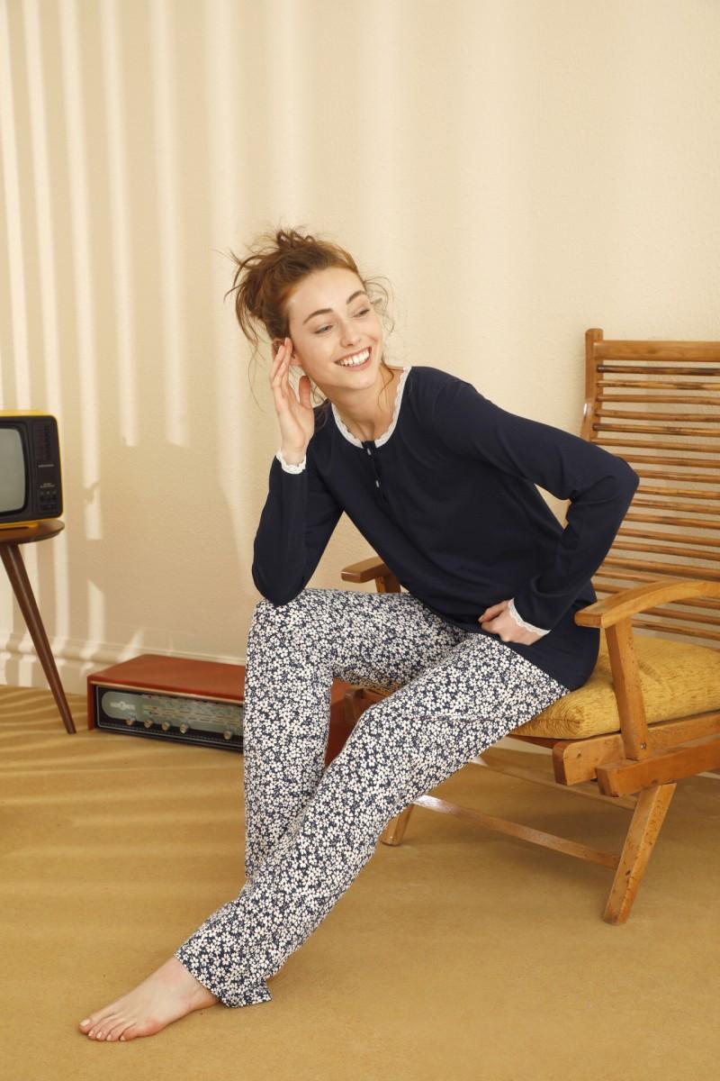 SİYAH İNCİ - Pamuklu Likralı Düğmeli Pijama Takım 21260404