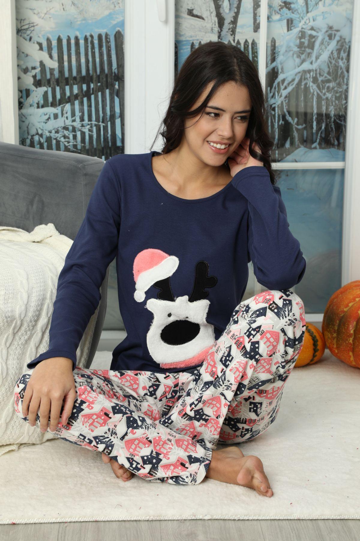 Pamuklu Likralı İnterlok Pijama Takım 20251345