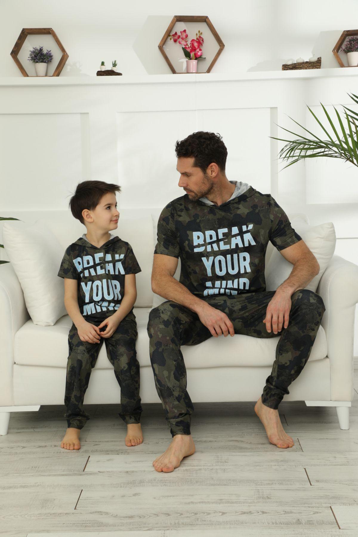 Pamuklu Likralı Kapişonlu Pijama Takım 21148025
