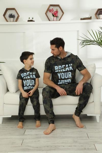 Pamuklu Likralı Kapişonlu Pijama Takım 21148025 - Thumbnail