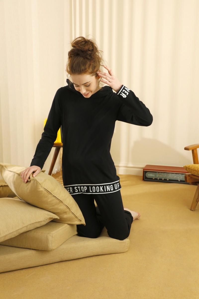 SİYAH İNCİ - Pamuklu Likralı Kapişonlu Pijama Takım 21260444