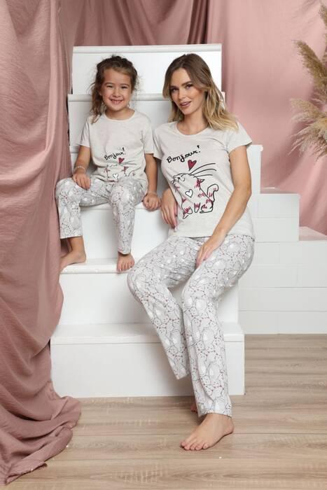 Pamuklu Likralı Kısa Kollu Pijama Takım 21140803