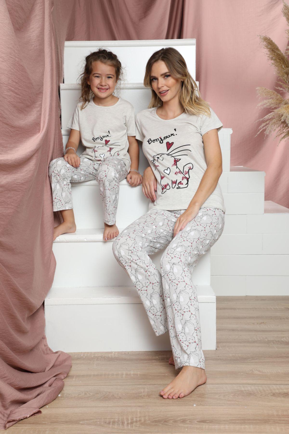SIYAH INCI - Pamuklu Likralı Kısa Kollu Pijama Takım 21140803