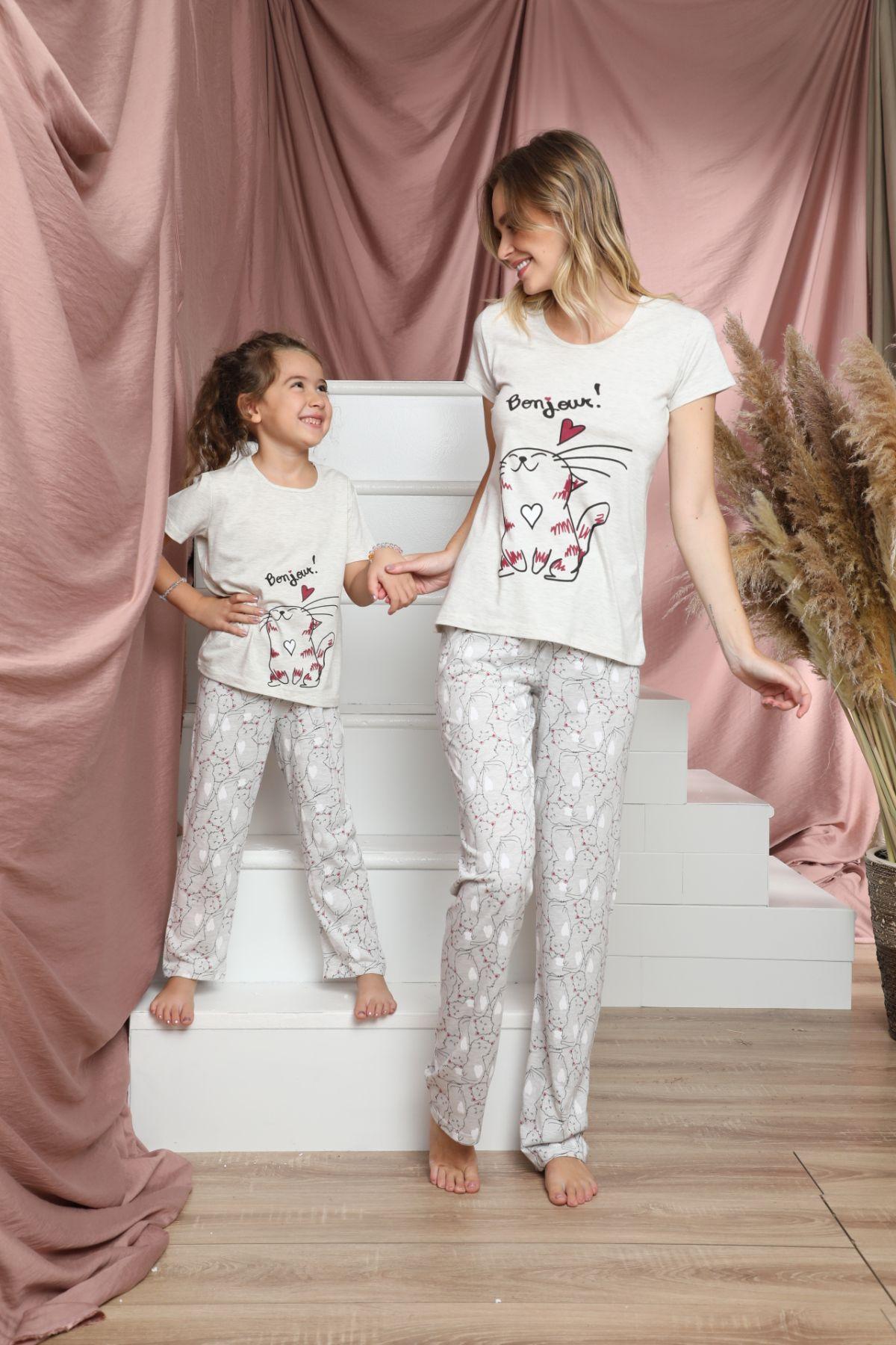 SİYAH İNCİ - Pamuklu Likralı Kısa Kollu Pijama Takım 21140803