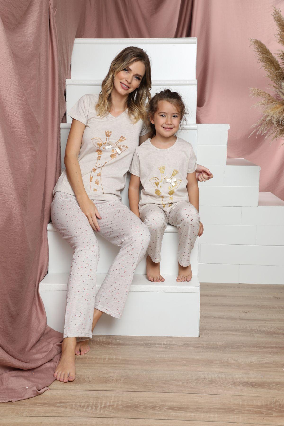 SİYAH İNCİ - Pamuklu Likralı Kısa Kollu Pijama Takım 21140813