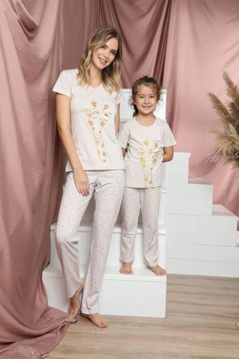 Pamuklu Likralı Kısa Kollu Pijama Takım 21140813