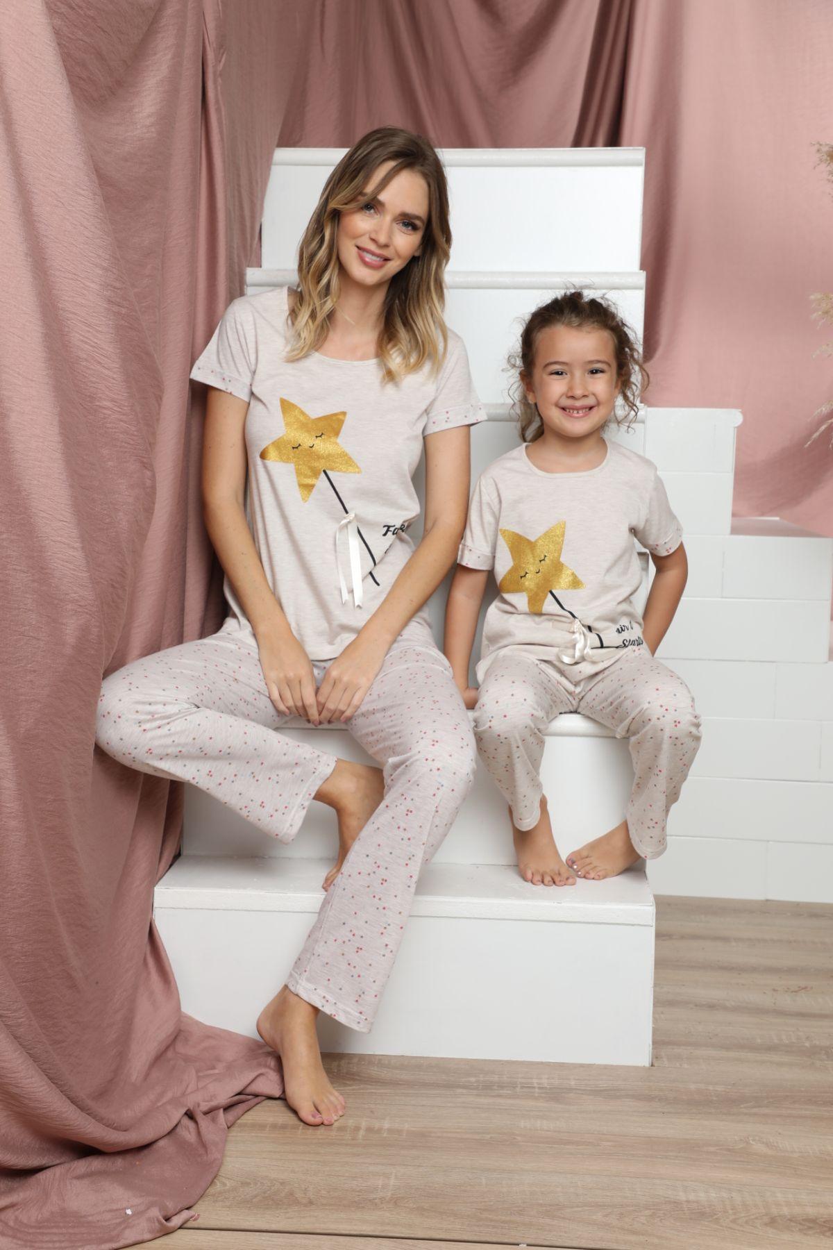 SIYAH INCI - Pamuklu Likralı Kısa Kollu Pijama Takım 21140820