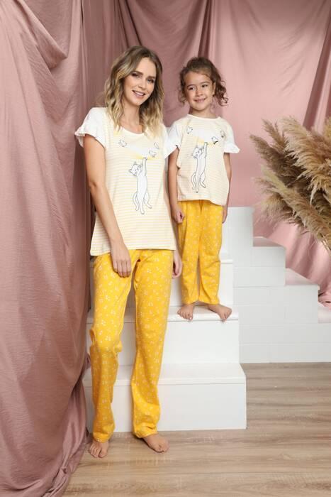 Pamuklu Likralı Kısa Kollu Pijama Takım 21140834