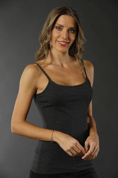 SİYAH İNCİ - Pamuklu Likralı Mango Modeli İp Askılı Atlet