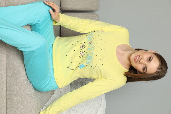 SİYAH İNCİ - Pamuklu Likrali Pijama Takım