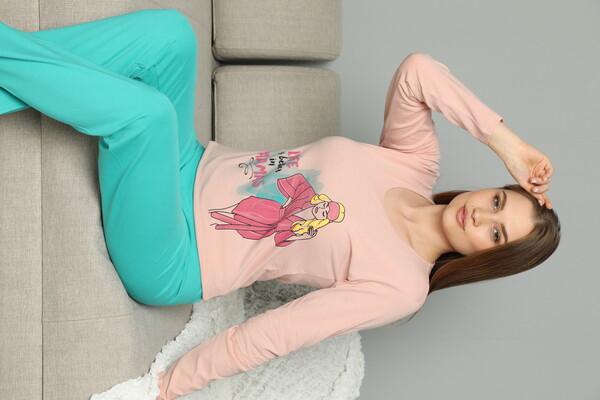 SIYAH İNCİ - Pamuklu Likrali Pijama Takım
