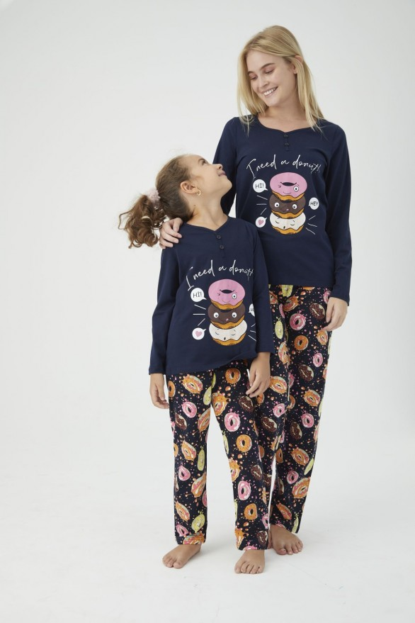 SİYAH İNCİ - Pamuklu Likralı Pijama Takım