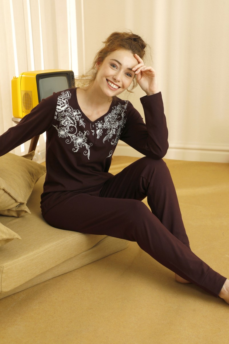 SİYAH İNCİ - Pamuklu Likralı Pijama Takım 21260436